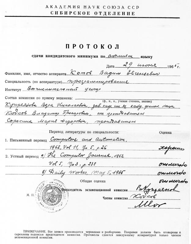 Протокол сдачи канд. минимума по английскому языку, 1965 г.